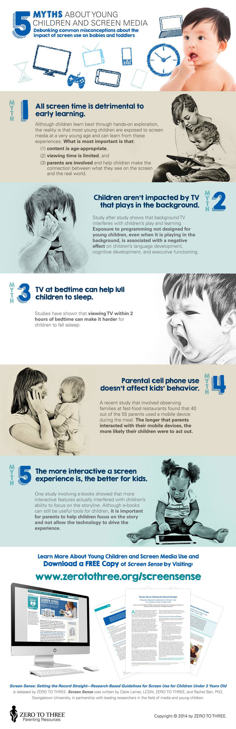 5 Myths About Young Children and Screen Media Infographic
